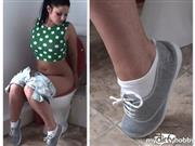 PascalsSubSluts – White ankle socks: cute brat NICOLA takes a piss