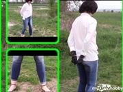 "bondageangel – Walk in handcuffs and ""wetting"" jeans"