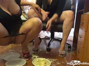 RussianBeauty – Eat food from our shoes and drink our piss while we drinking shampaign