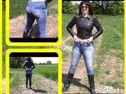 bondageangel – Pissing in tight jeans and rubber boots