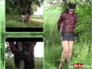 bondageangel – Leather skirt, jacket and handcuffs